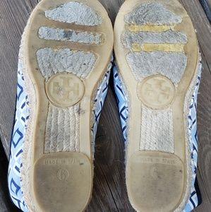 Tory Burch Shoes - Blue Tory Burch Espadrille Logo Flats